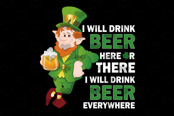 Dr Seuss Patrick Day Leprechaun Drink Beer Here PNG, Digital Download, Digital