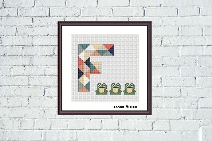 Letter F and cute frogs nursery cross stitch pattern, Tango Stitch
