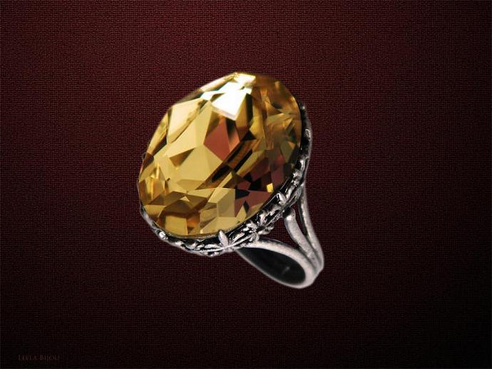 Golden Yellow Topaz Ring Swarovski Crystal Silver Plated