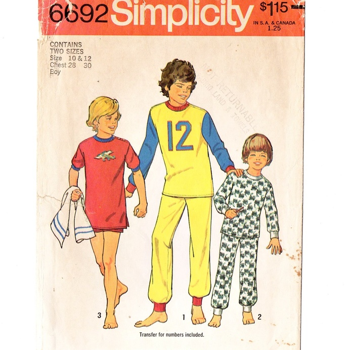 Simplicity 6692 Boys Knit Pajamas 70s Vintage Sewing Pattern Size 10, 12 Chest