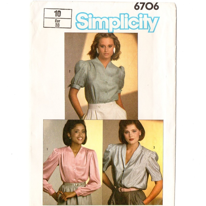 Simplicity 6706 Misses Blouse 80s Vintage Sewing Pattern Size 10 Bust 32 1/2