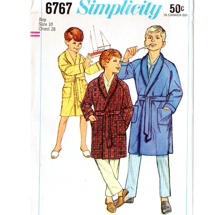 Simplicity 6767 Boys Wrap Robe 60s Vintage Sewing Pattern Size 10 Chest 28 Shawl