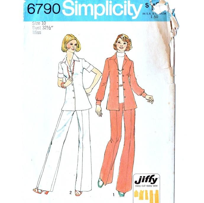 Simplicity 6790 Misses Shirt Jacket, Pants 70s Vintage Sewing Pattern Uncut Size
