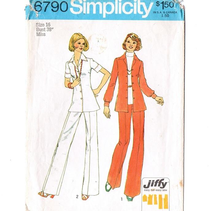 Copy of Simplicity 6790 Misses Shirt Jacket, Pants 70s Vintage Sewing Pattern