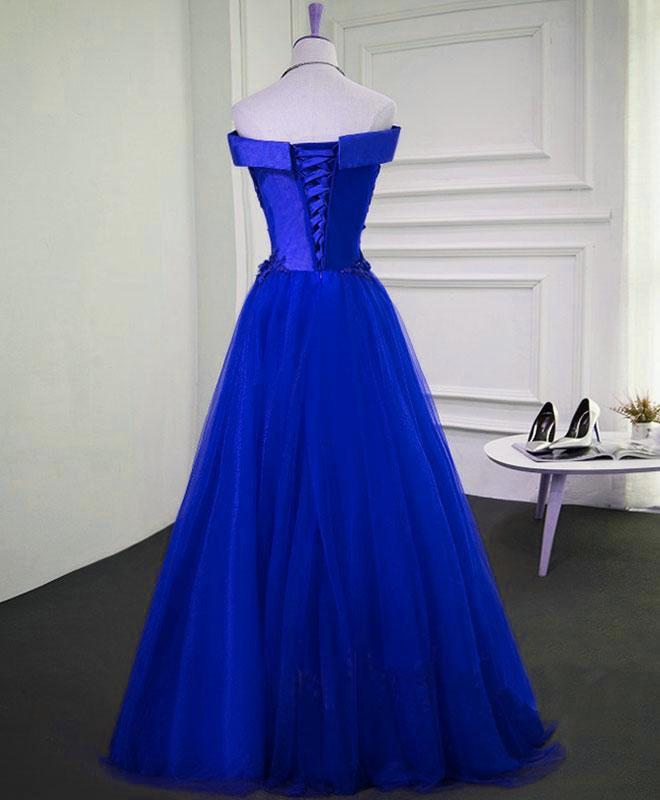 Royal Blue Long Formal Dress with Lace Applique, Blue Party Dress 2021