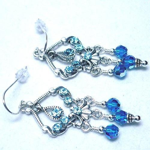 Swarovski Capri Blue Crystal Chandelier Earrings