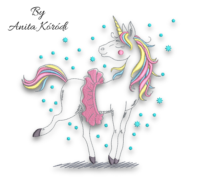 Unicorn embroidery machine design pes horse digital instant download pattern