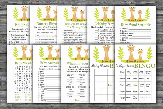 Giraffe baby shower games package,Giraffe Baby Shower Game ,9 Printable