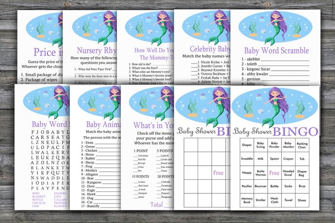 Mermaid baby shower games package,Mermaid Baby Shower Game ,9 Printable