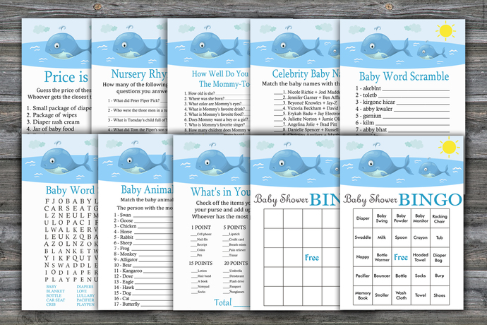 Whale baby shower games package,Whale Baby Shower Game ,9 Printable Games---335