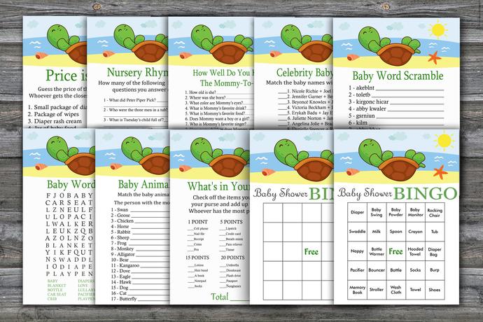 Cute Turtle baby shower games package,Cute Turtle Baby Shower Game ,9 Printable