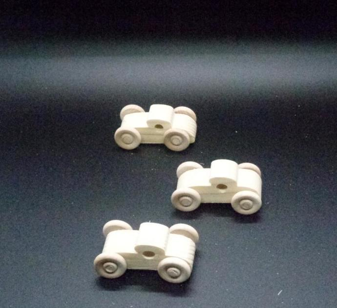 Pkg of 3 Handcrafted Wood Toy Cars 345AAH-U-3 unfinished or finished