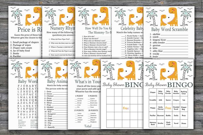Orange Dinosaur baby shower games package,Dinosaur Baby Shower Game ,9 Printable
