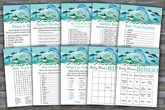 Under the sea baby shower games package,Under the sea Baby Shower Game ,9