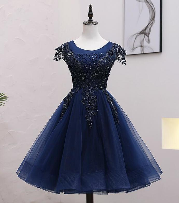 Blue Tulle Beaded Knee Length Cap Sleeves Prom Dress, Blue Homecoming Dress