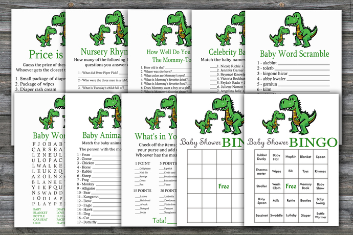 Dinosaur baby shower games package,T-rex Baby Shower Game ,9 Printable