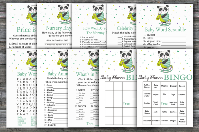 Panda baby shower games package,Panda Baby Shower Game ,9 Printable Games---326