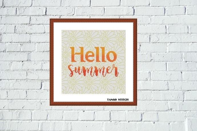 Hello summer flower ornament cross stitch pattern, Tango Stitch