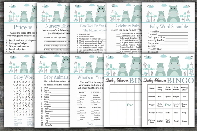 Hippo baby shower games package,Hippo Baby Shower Game ,9 Printable Games---325