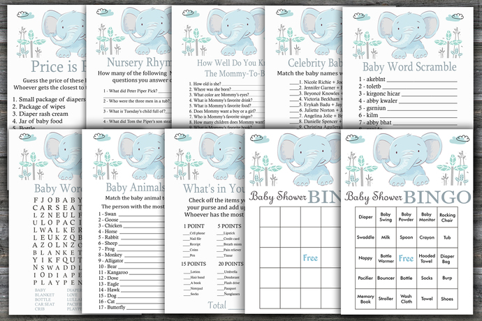 Blue elephant baby shower games package,elephant Baby Shower Game ,9 Printable