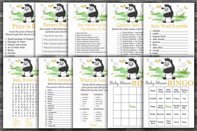 Zebra baby shower games package,Zebra Baby Shower Game ,9 Printable Games---323