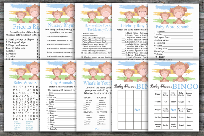 Monkey baby shower games package,Monkey Baby Shower Game ,9 Printable