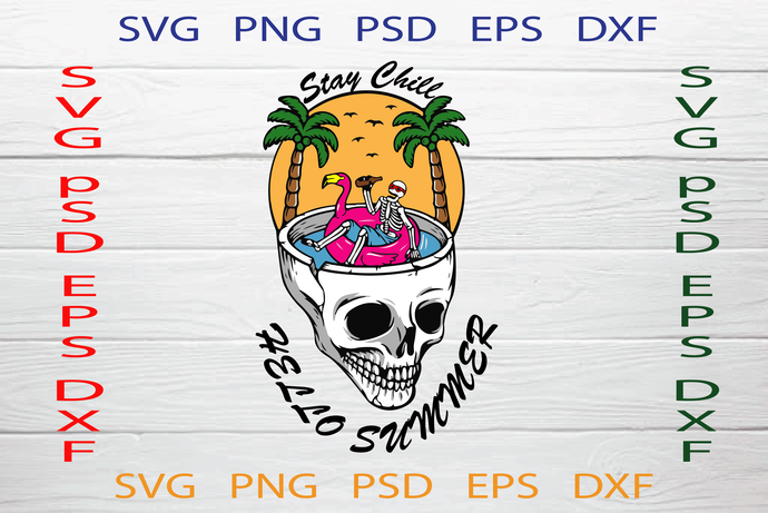 Hello Summer Svg, Summer Svg, Skull beach Svg, Chill out  SVG, Digital Cannabis