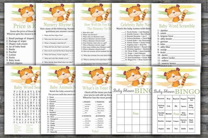 Tiger baby shower games package,Tiger Baby Shower Game ,9 Printable Games---321