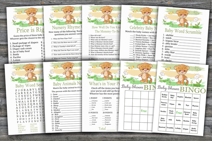 Cute Tiger baby shower games package,Cute Tiger Baby Shower Game ,9 Printable