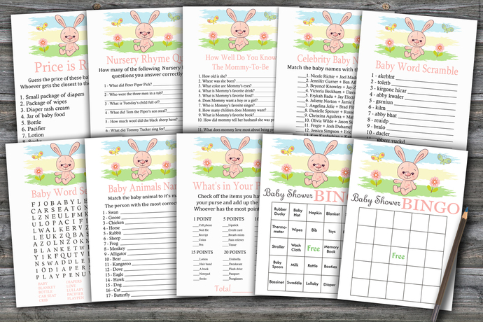 Cute rabbit baby shower games package,rabbit Baby Shower Game ,9 Printable