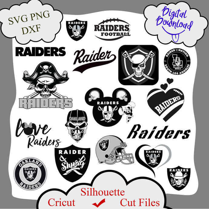 Oakland raiders bundle logo sport svg, Oakland raiders bundle svg, Oakland