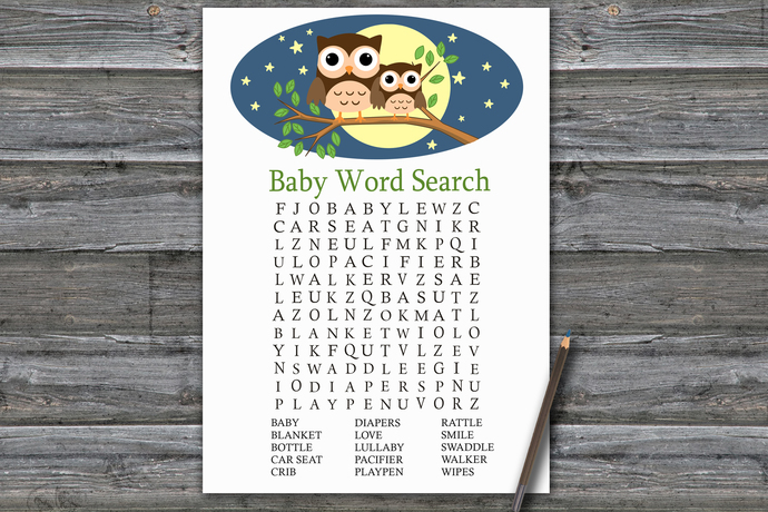 Cute Owl Baby Shower Word Search Game,Owl Baby shower games,baby shower game