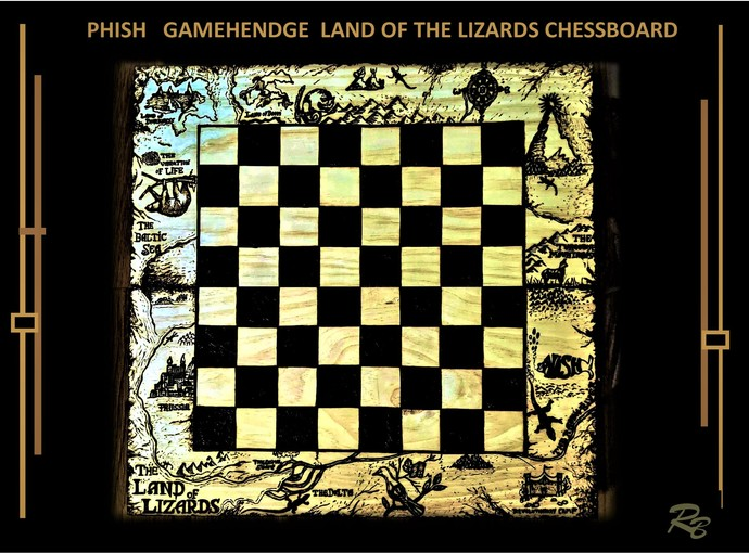 PHISH, land of the lizards, Geek gift,  chess lovers, gift ideas,Chess boards,