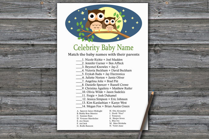 Cute Owl Celebrity Baby Name Game,Owl Baby shower games,baby shower game