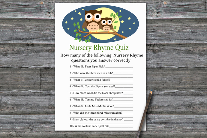 Cute Owl Nursery Rhyme Quiz Game,Owl Baby shower games,baby shower game