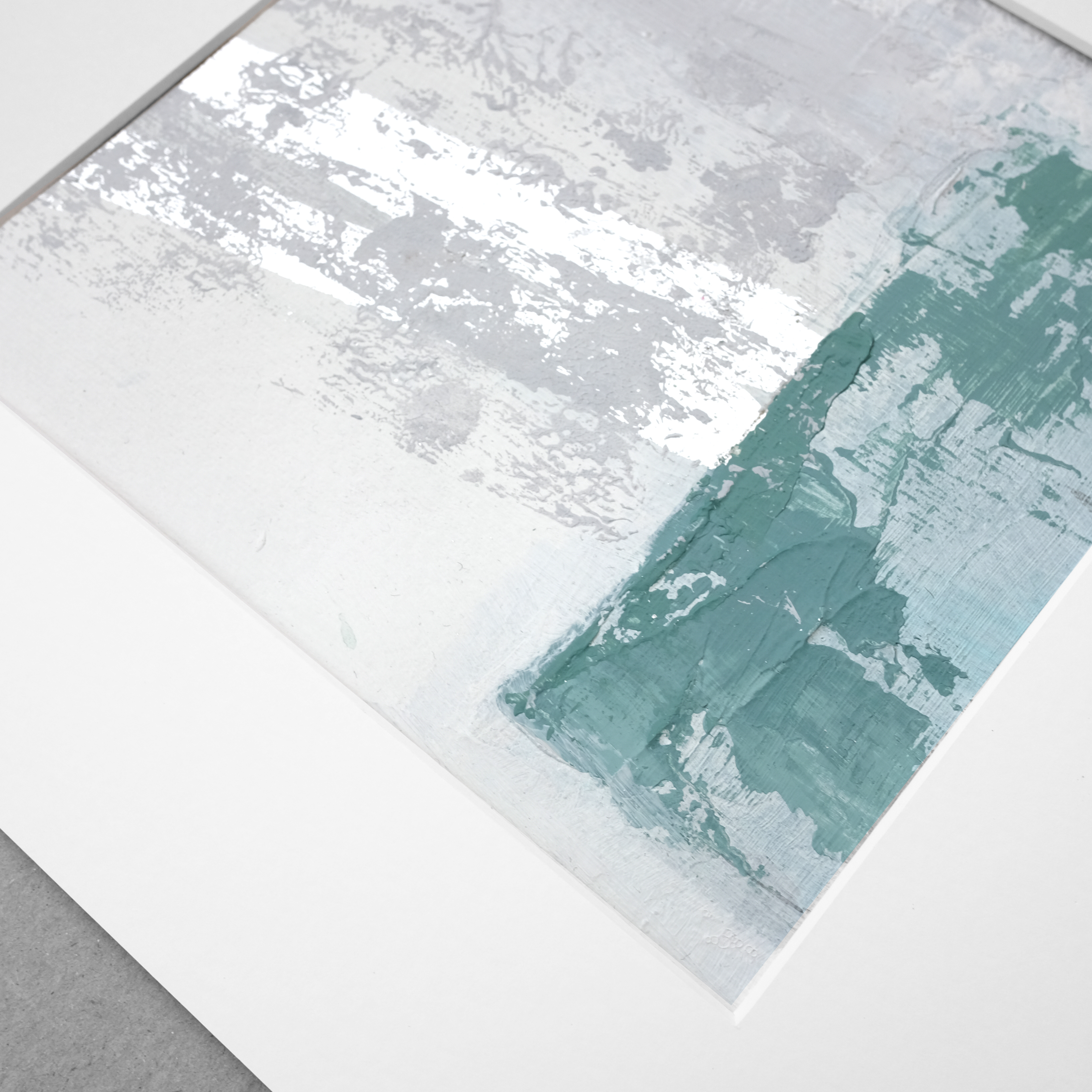 Original painting, original acrylic white green silver leaf , painting on paper,