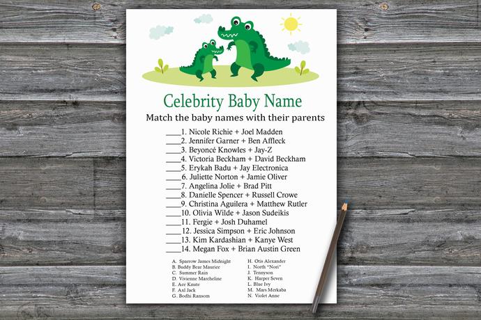 Alligator Celebrity Baby Name Game,Alligator Baby shower games,baby shower game