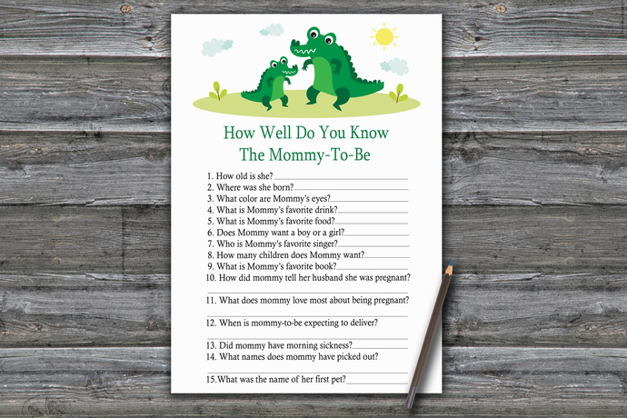Alligator How Well Do You Know Game,Alligator Baby shower games,baby shower game