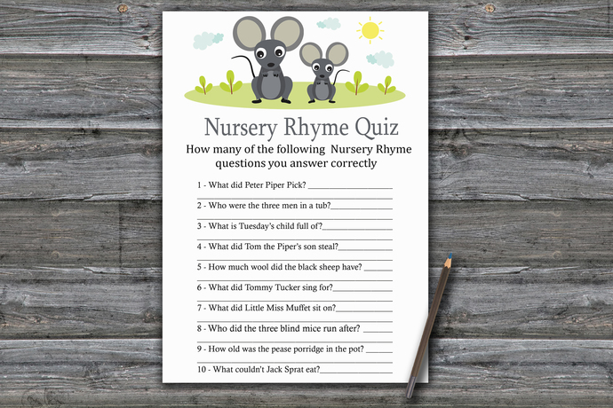Mouse Nursery Rhyme Quiz Game,Mouse Baby shower games,baby shower game