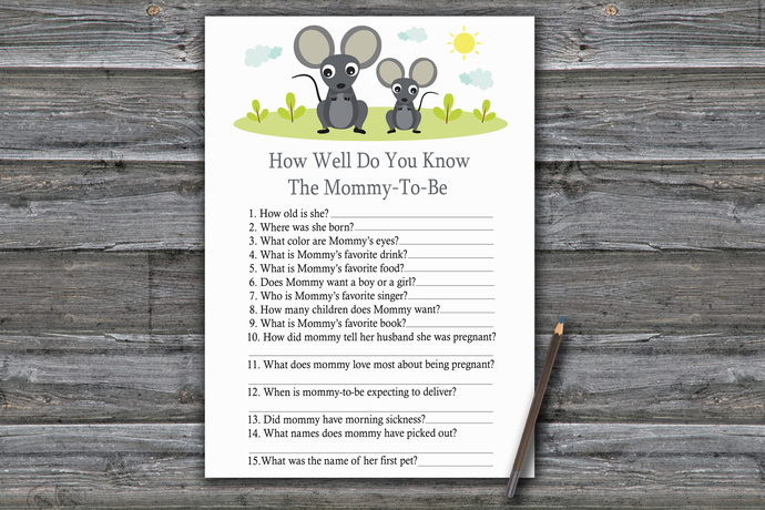 Mouse How Well Do You Know Game,Mouse Baby shower games,baby shower game