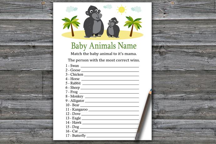 Gorilla Baby Animals Name Game,Gorilla Baby shower games,baby shower game