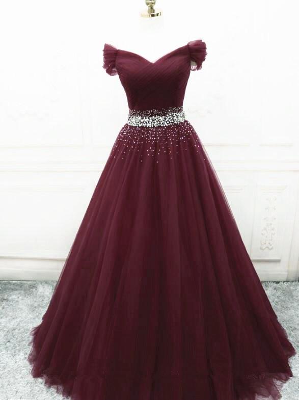 Burgundy Tulle New Style Long Prom Dress 2021, Beaded Tulle Formal Dress