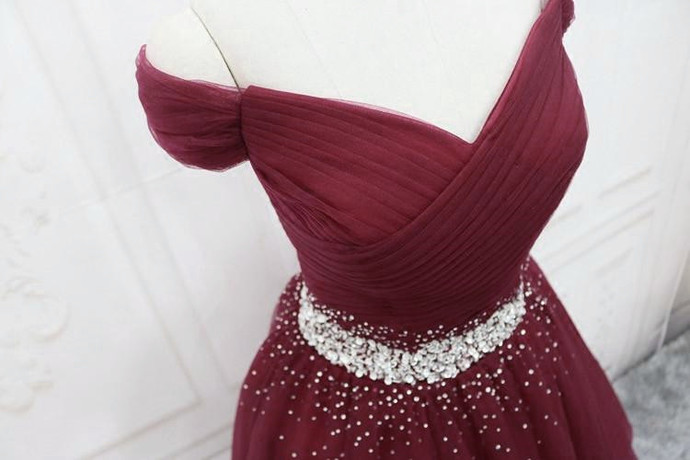 Burgundy Tulle New Style Long Prom Dress 2021, Beaded Tulle Formal Dress