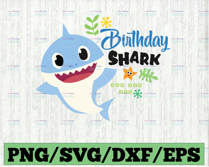 Birthday Shark Boy SVG, Cricut Cut files, Shark Family doo doo doo Vector EPS,