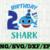 Shark 2nd Birthday Svg, Boy Birthday Shark Svg Dxf Eps, Boy Second Birthday