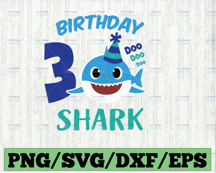 Shark 3rd Birthday Svg, Boy Birthday Shark Svg Dxf Eps, Boy Third Birthday
