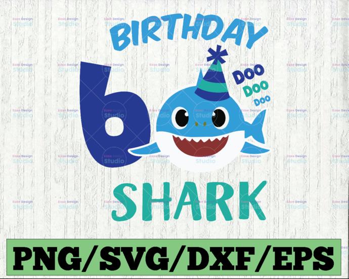 Shark 6th Birthday Svg, Boy Birthday Shark Svg Dxf Eps, Boy Sixth Birthday
