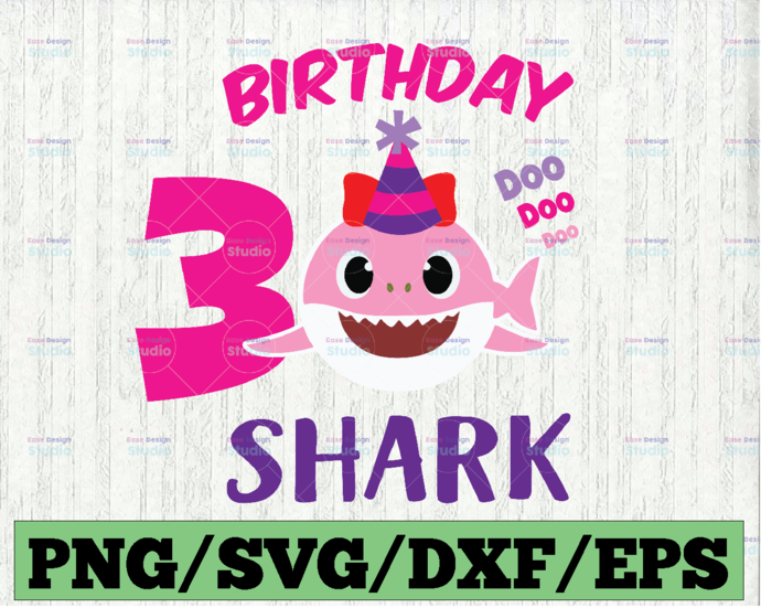 Shark 3rd Birthday Svg, Girl Birthday Shark Svg Dxf Eps, Girl Third Birthday