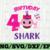 Shark 4th Birthday Svg, Girl Birthday Shark Svg Dxf Eps, Girl fourth Birthday