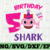Shark 5th Birthday Svg, Girl Birthday Shark Svg Dxf Eps, Girl Fifth Birthday